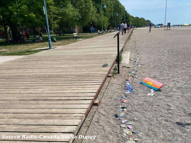 alignement de pierres peintes sur une plage